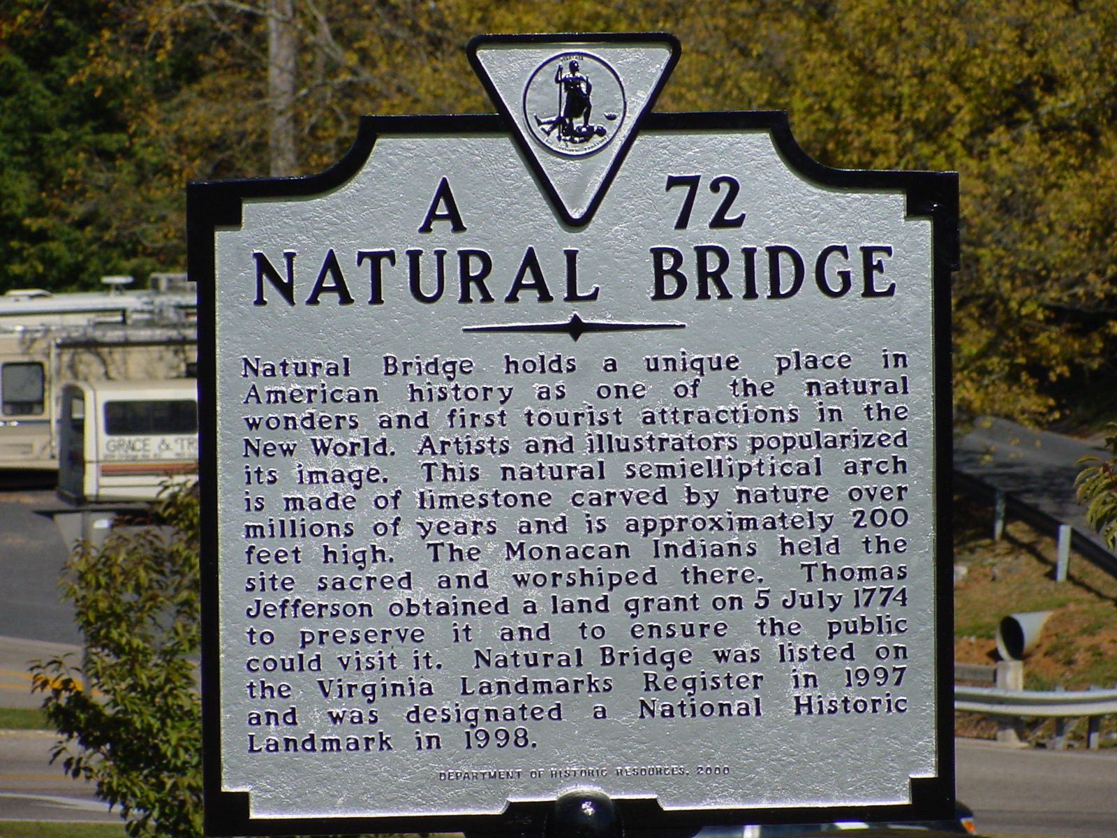Natural Bridge Marker
