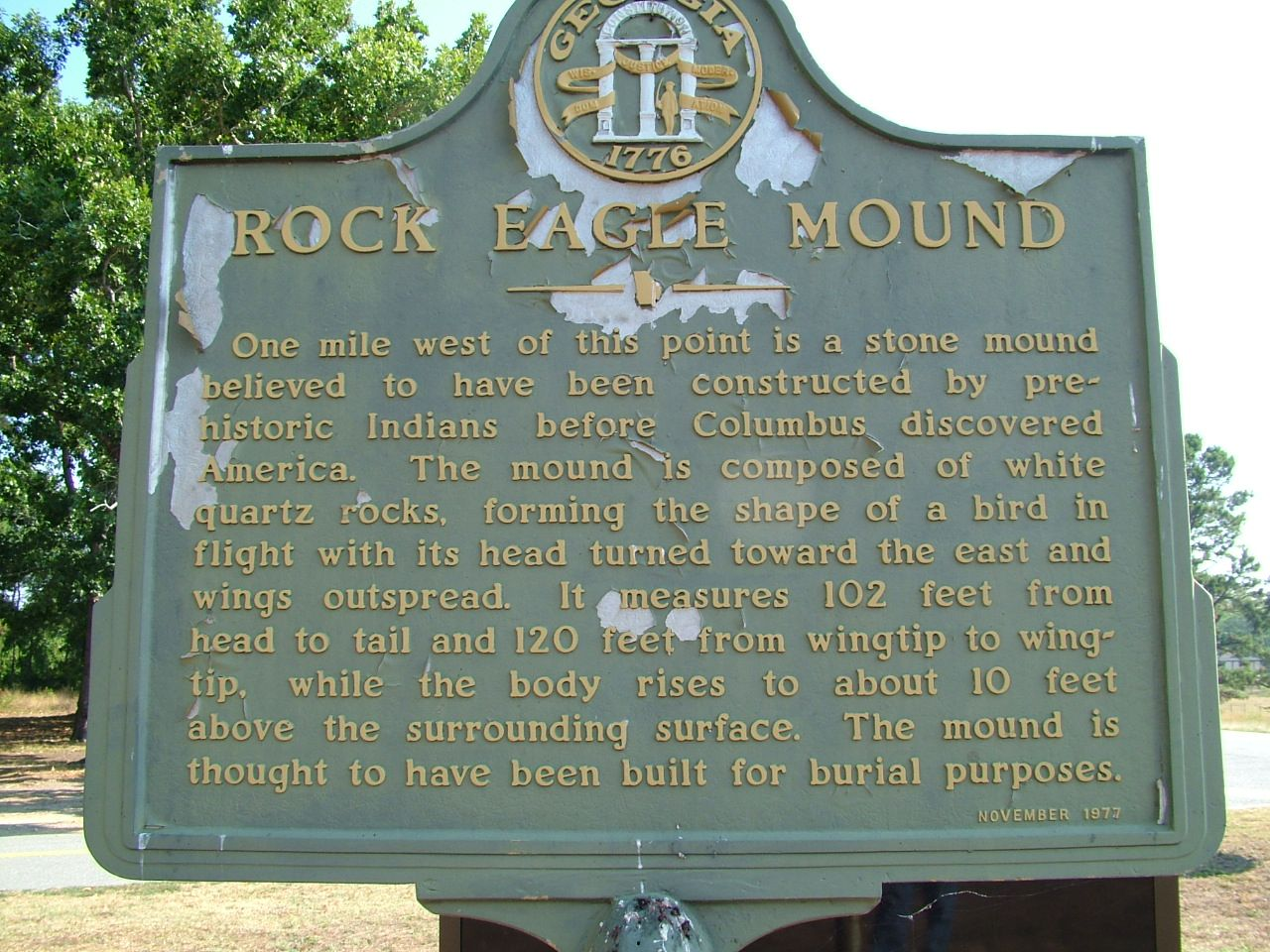 Rock Eagle Mound Marker