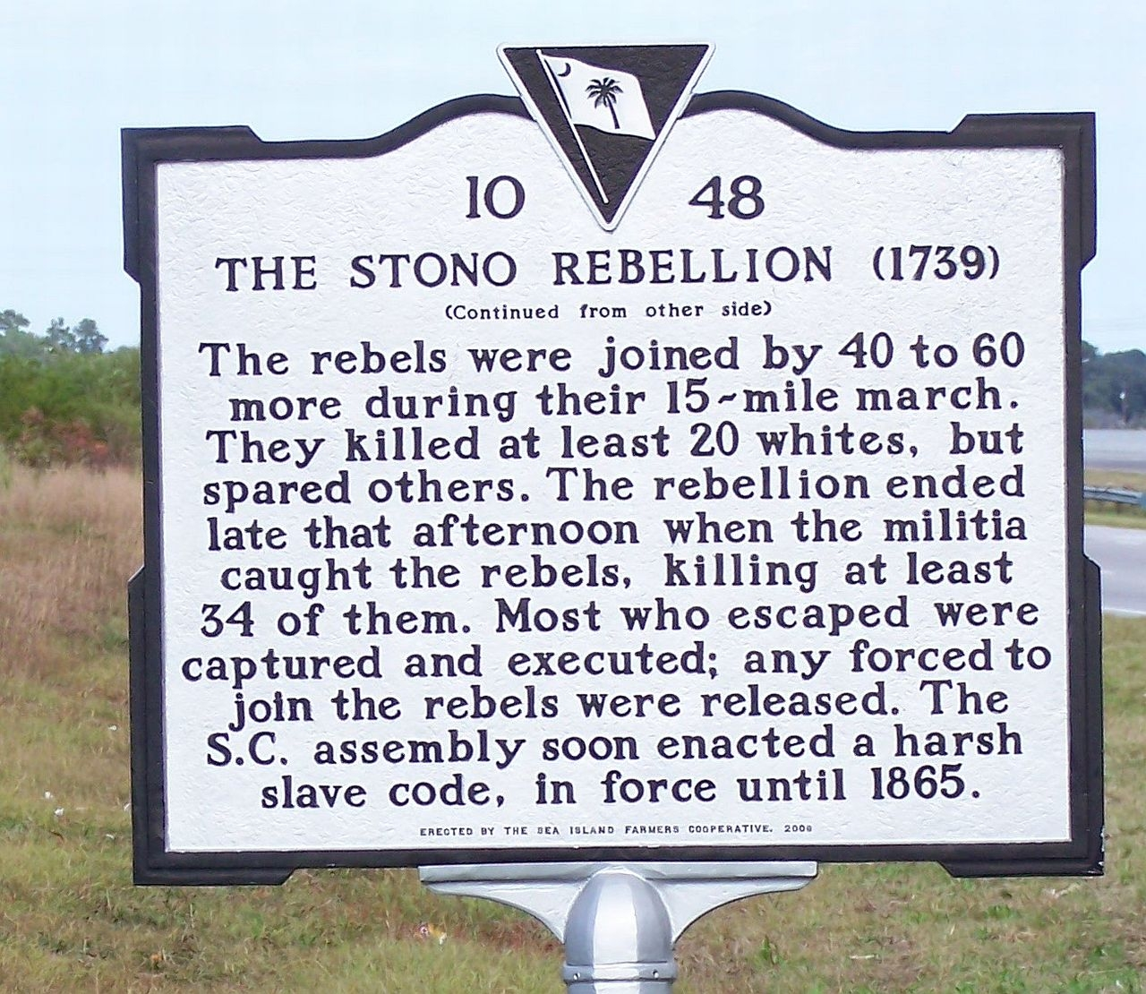 The Stono Rebellion Marker, reverse side