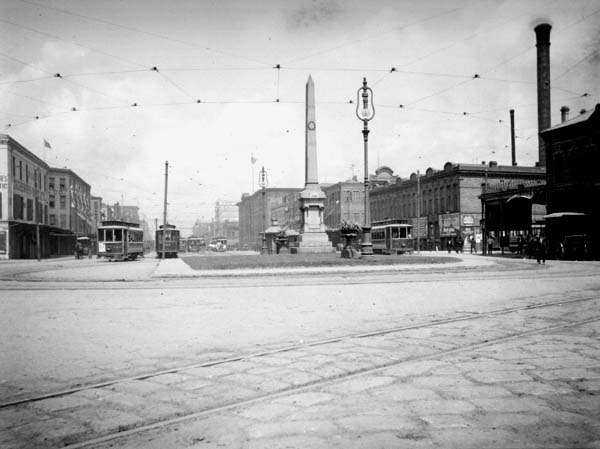 Battle of Liberty Place Monument - at its original location on Canal Street, 1906