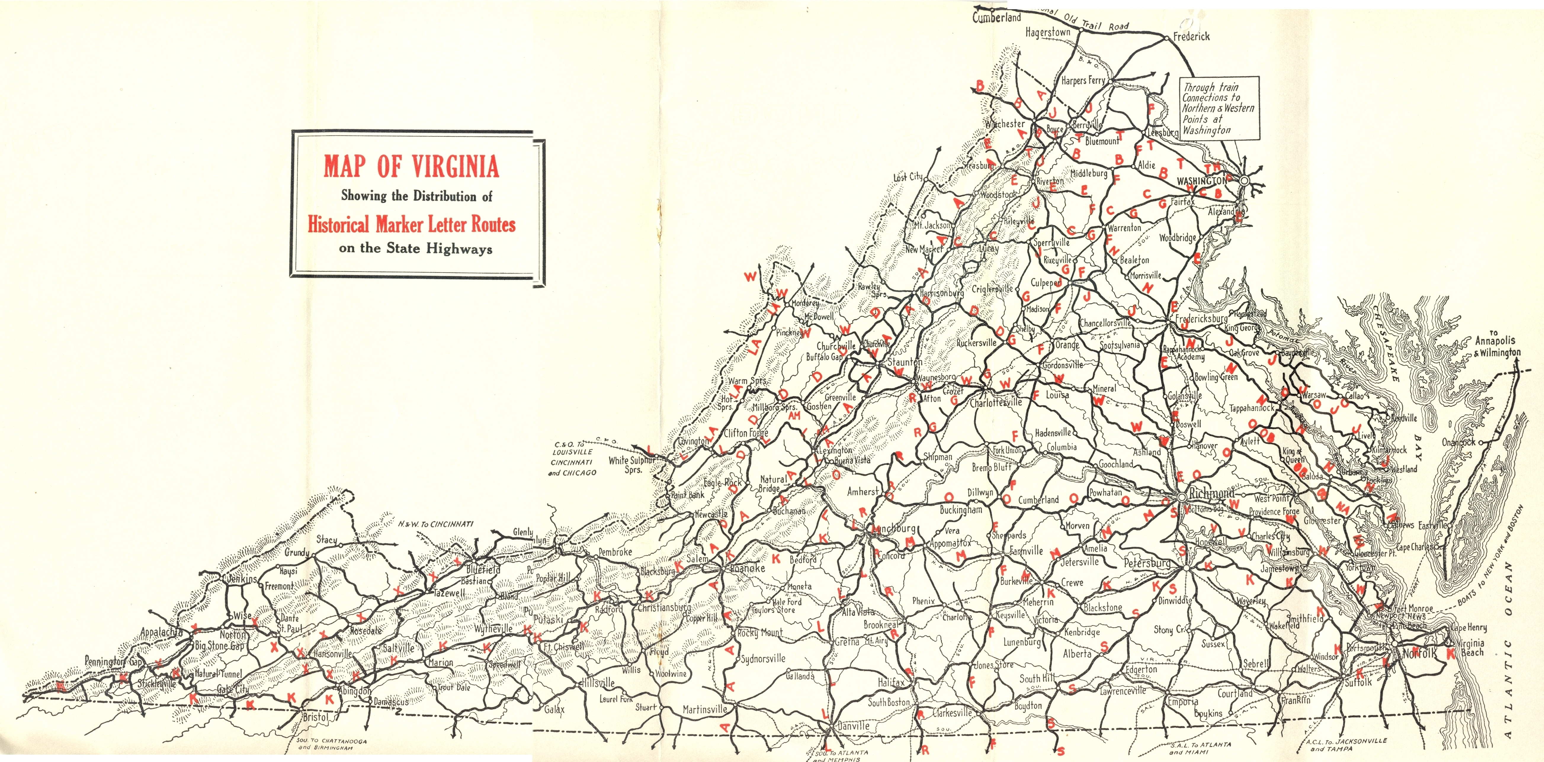 1929 Virginia Historical Marker Letter Routes
