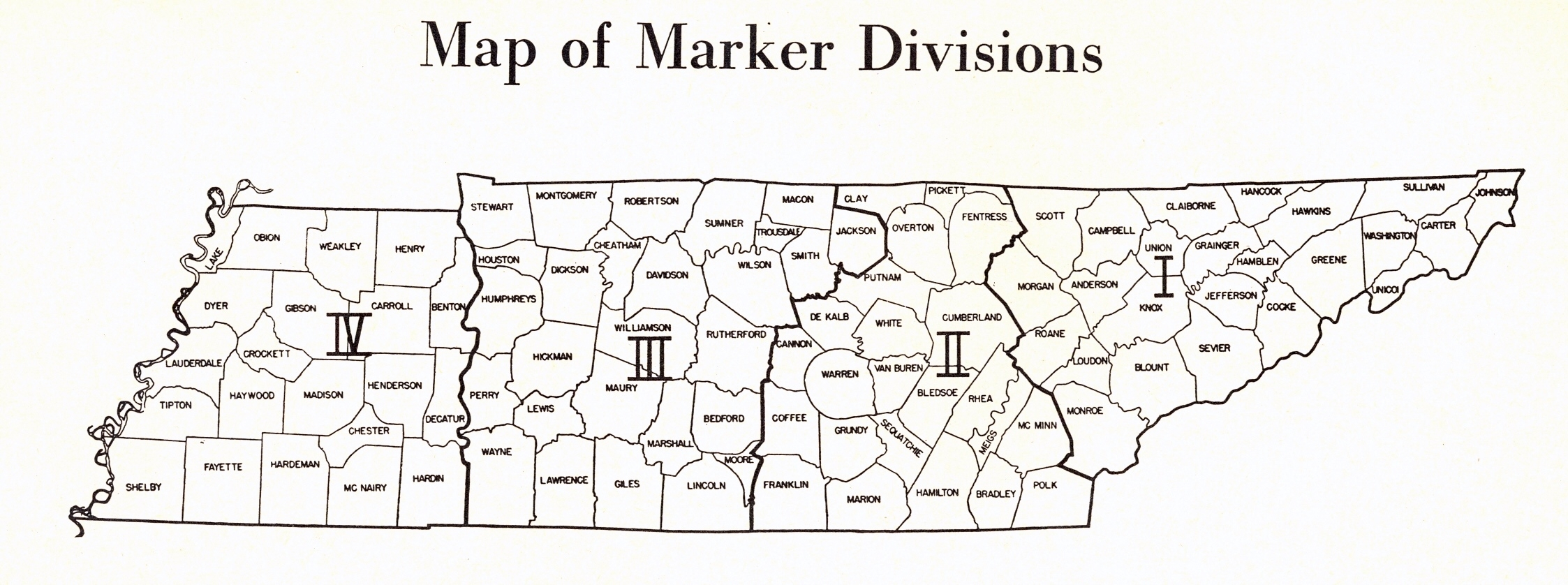 Map of Tennessee Marker Divisions