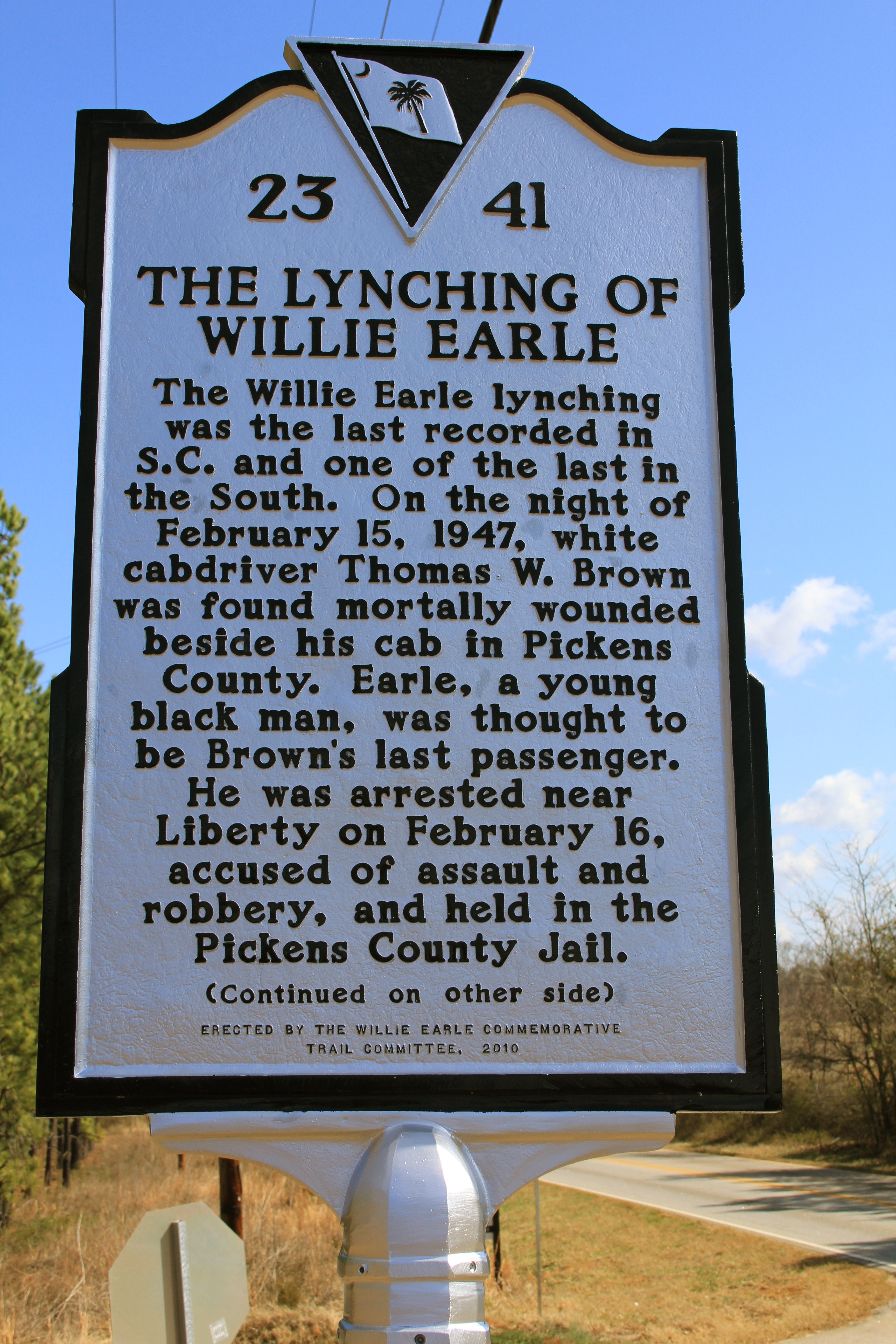 The Lynching Of Willie Earle Marker (front)