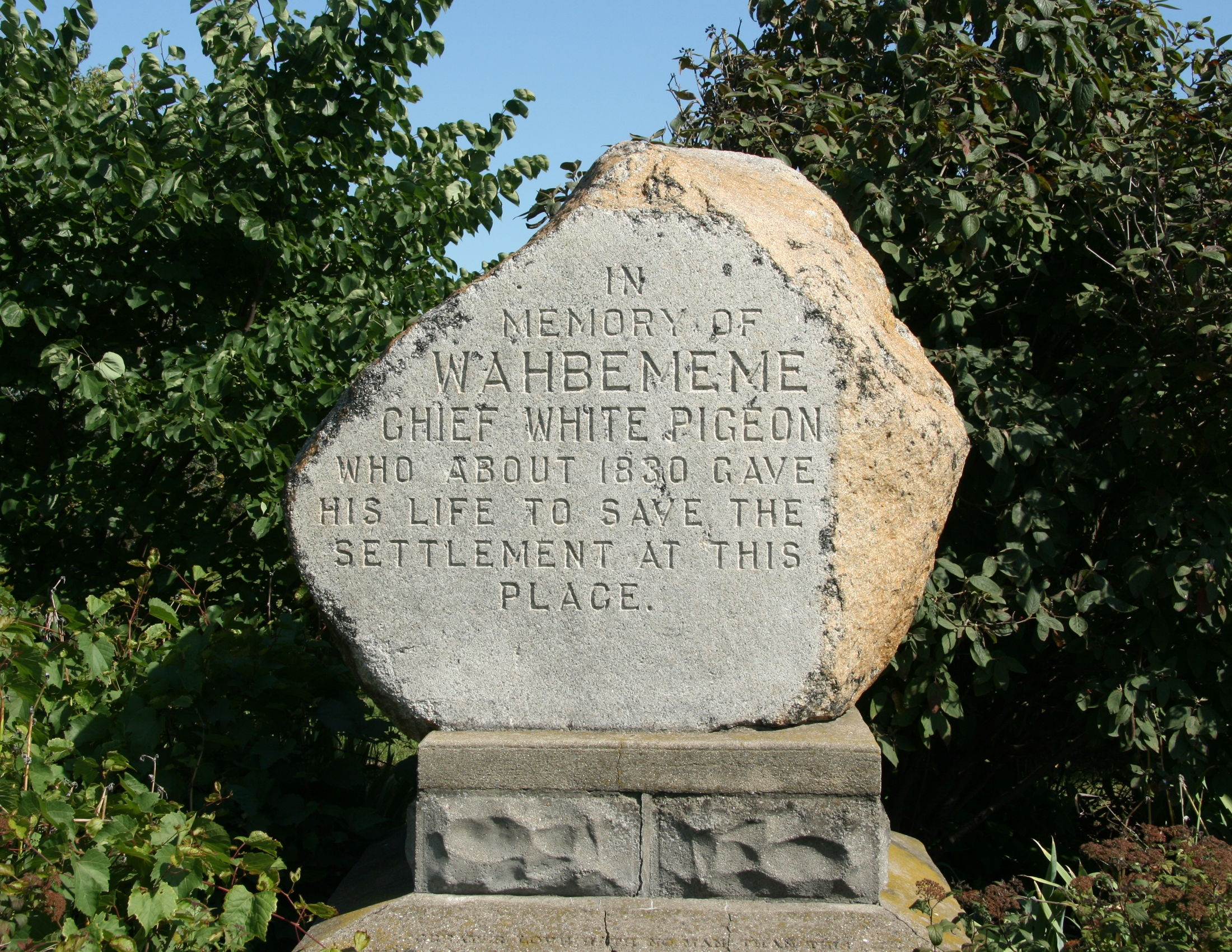 Chief Wahbememe Burial Site Marker