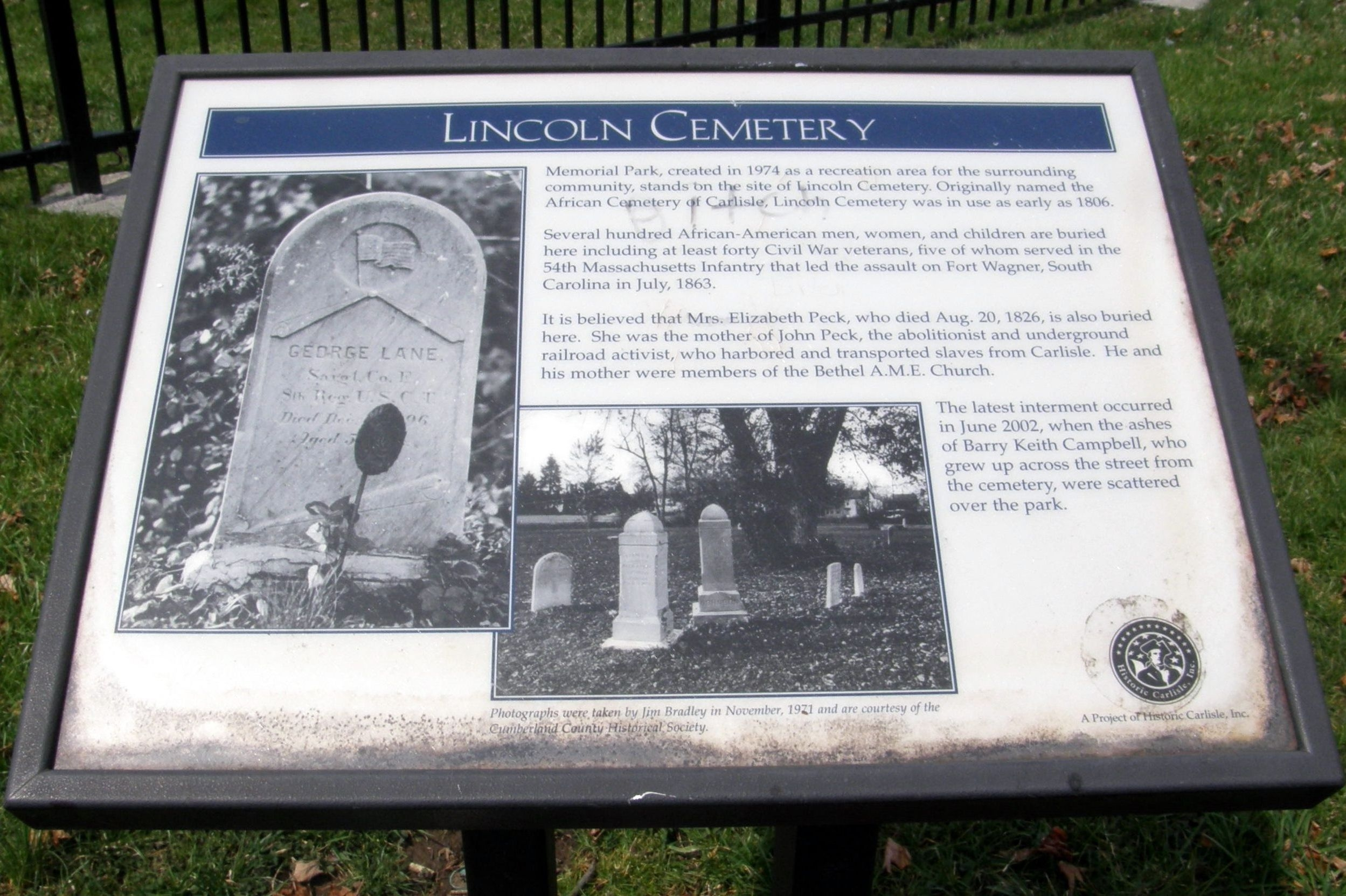 Lincoln Cemetery Marker