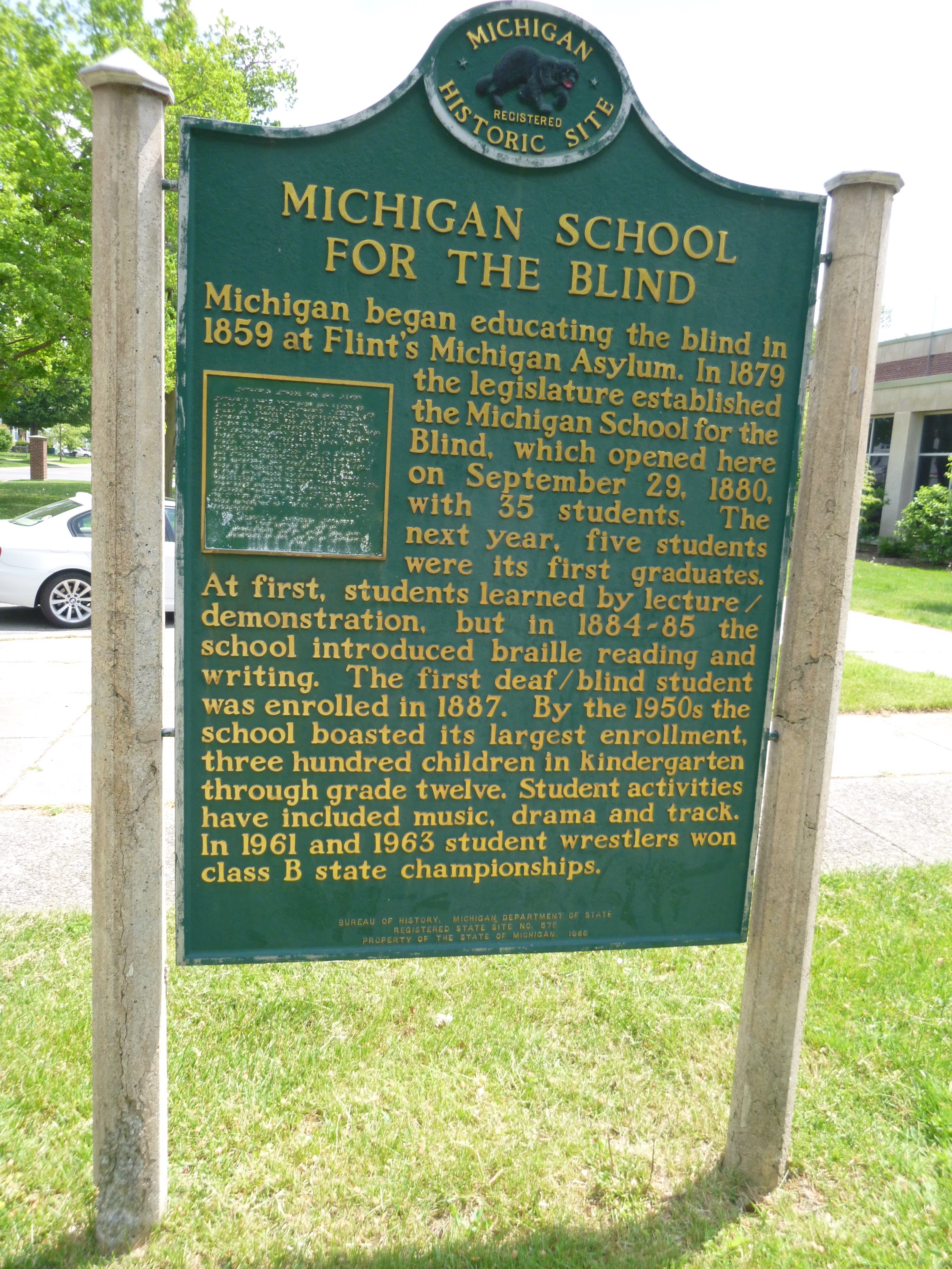 Michigan School for the Blind / Administration Building Marker
